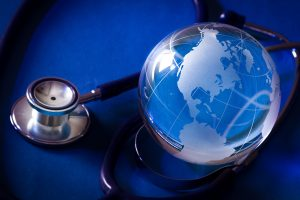 Glass Blue Globe with Stethoscope