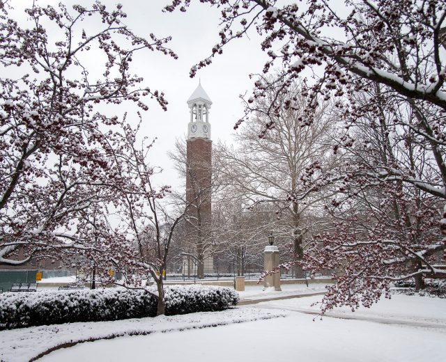 snow-covered purdue campus